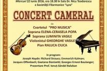 Concert cameral sustinut de Cvartetul Pro Musica la palatul Lyra. Joseph Haydn, Richard Strauss, Emmerich Kalman, Gaetano Donizetti in program