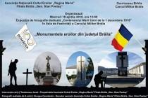 """Vernisajul Expoziției de fotografie """"Monumentele eroilor din județul Brăila"""" la ANCE """"Regina Maria""""-Filiala Brăila """"Gen. Stan Poetaș"""""""