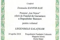 """Managerul bibliotecii V.A.Urechia Zanfir Ilie a primit Premiul """"Ion Nistor"""" și medalia 2018 din partea Fundației """"Magazin Istoric"""" pentru cartea """"Legendele Galaților"""""""