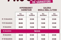 Program de sărbătorile de iarnă 2019-2020 la hypermaketul  Carrefour și Brăila Mall