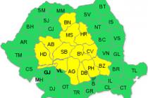 13 județe din centrul țării sub cod galben de ploi, până vineri seară