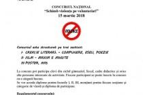 """Concursul Național """"Schimb violența pe voluntariat!"""", termen limită de înscriere 15 martie 2018"""