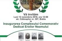 Inaugurarea Complexului Comemorativ dedicat Eroilor Neamului, Brăila, 12 noiembrie 2018