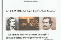 O floare la statuia poetului. Eveniment la statuia poetului Mihai Eminescu