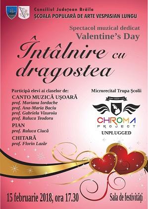 """Întâlnire cu dragostea de Valentine's Day la Şcoala Populară de Arte """"Vespasian Lungu"""" Brăila"""