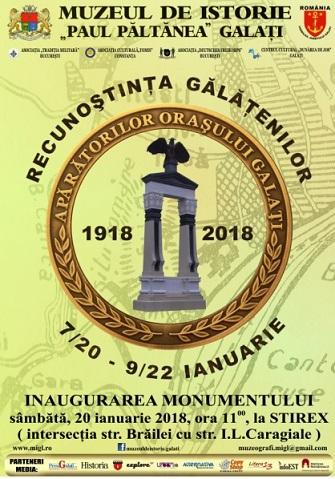 inaugurarea Monumentului APĂRĂTORII ORAŞULUI GALAŢI