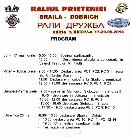 program raliu Brăila - Dobrich.2018