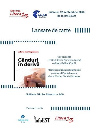 Valeriu Ion Găgiulescu lansează volumul Gânduri în derivă la CARP Brăila