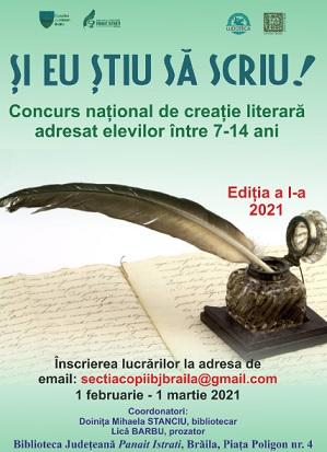 Concurs naţional de creaţie literară Şi eu ştiu să scriu!